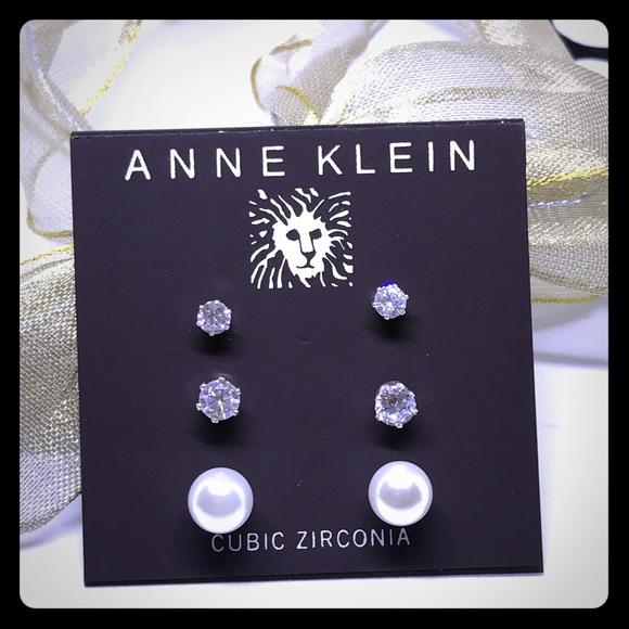 Anne Klein 3-set Crystal & Pearl Earrings [JW-35]